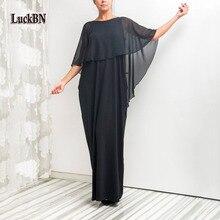 2XL новый бренд сезон: весна–лето плюс Размеры платья Для женщин синий черный сексуальное платье с рукавами «летучая мышь» свободная талия Элегантное Длинное Платье Vestidos