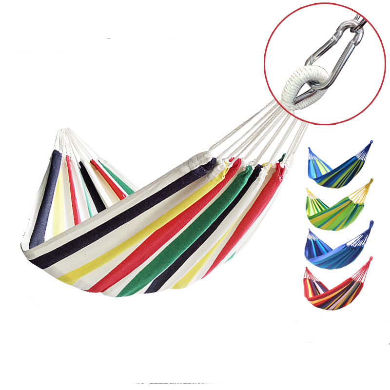 Portable Hammock Camping picnic Garden Beach Travel Hammock Outdoor Ultralight Colorful Cotton Canvas Swing Bed 8 colors 2 people portable parachute hammock outdoor survival camping hammocks garden leisure travel double hanging swing 2 6m 1 4m 3m 2m