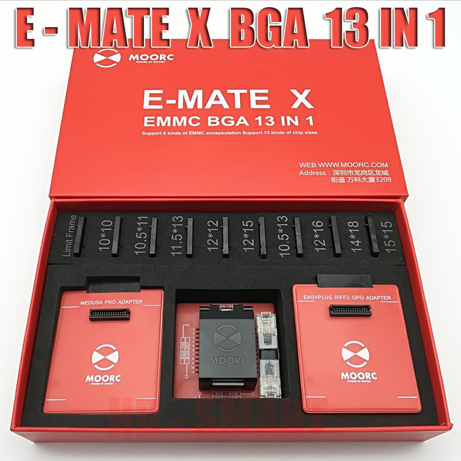 New MOORC  E-MATE  X   E MATE PRO BOX EMATE EMMC BGA 13in 1 SUPPORT  100 136 168 153 169 162 186 221 529 254 Easy Jtag Plus