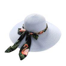 2019 Nova Moda Verão Chapéu de Sol Feminino Grande Arco Fita Palha Disquete  Sombrero Panamá Chapéus de Praia para As Mulheres . 4f149cc9182