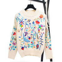 Runway Women Sweater Haute Couture 2018 New Autumn Winter Flower Embroidery Wool Loose Knitted Pullover Jersey Fashion Jumpers