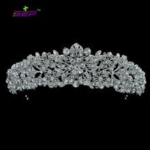 Alta qualidade cristal nobre flor nupcial tiara coroa headbands casamento jóias acessórios para o cabelo feminino frete grátis 4714