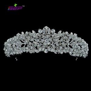 Image 1 - Alta qualidade cristal nobre flor nupcial tiara coroa headbands casamento jóias acessórios para o cabelo feminino frete grátis 4714
