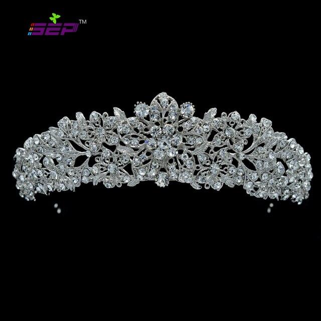Di Alta Qualità di Cristallo Nobile Del Fiore da Sposa Tiara Crown Fasce Monili di Cerimonia Nuziale Accessori per Capelli Delle Donne di Trasporto Libero 4714