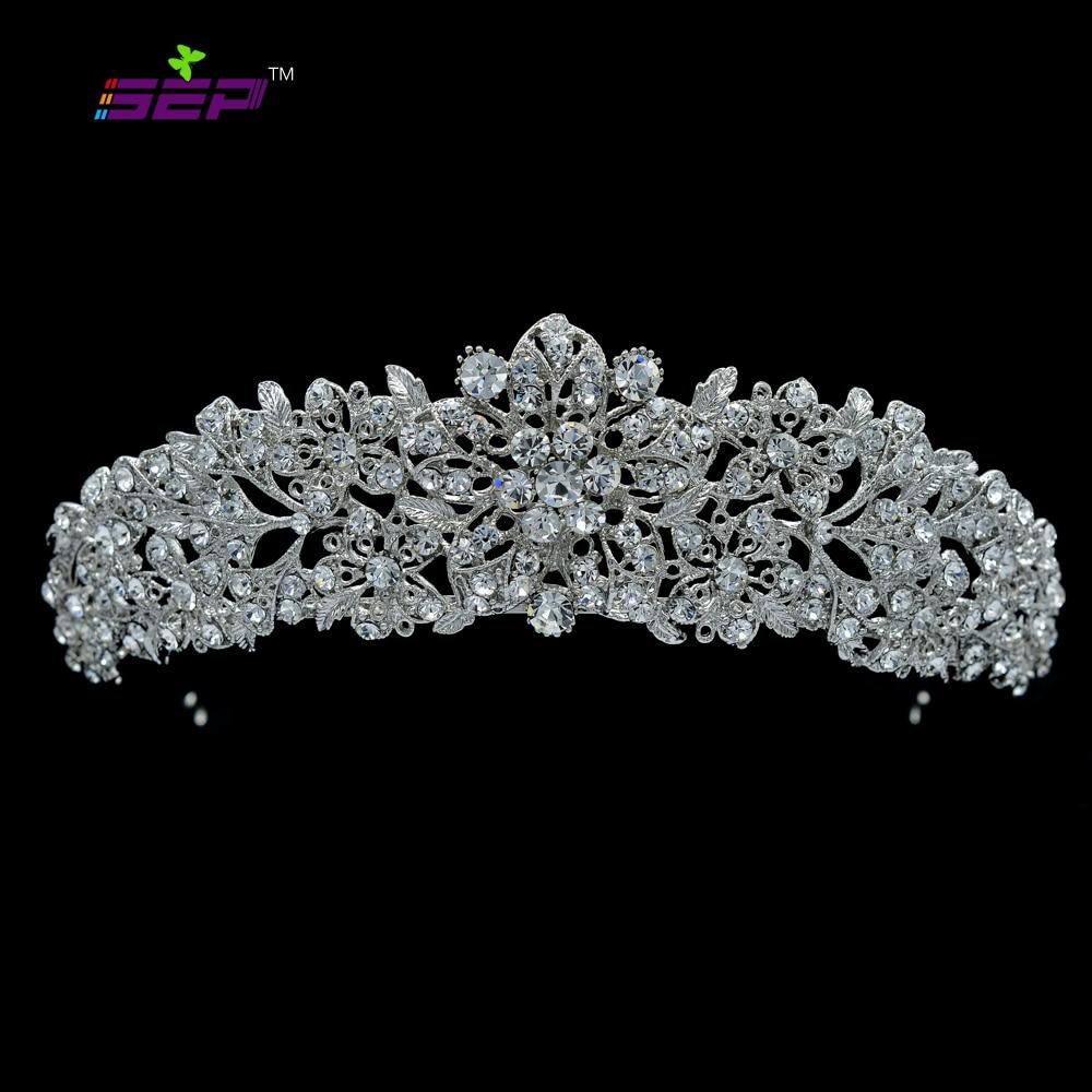 Høy kvalitet Crystal Noble Flower Brude Tiara Crown Pannebånd Bryllupssmykker Hårtilbehør Damer Gratis frakt 4714