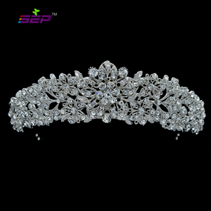 Image 1 - High Quality Crystal Noble Flower Bridal Tiara Crown Headbands Wedding Jewelry Hair Accessories Women Free Shipping 4714