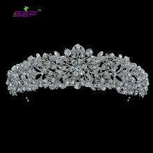 Hohe Qualität Kristall Edle Blume Braut Tiara Krone Stirnbänder Hochzeit Schmuck Haar Zubehör Frauen Freies Verschiffen 4714