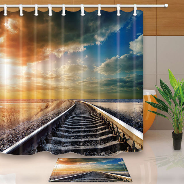 Warm Tour New Train Tracks Bathroom Fabric Shower Curtain Sets Waterproof With 12 Hooks Rings 71