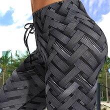 Sexy A Vita Alta Fitness Ferro tessuto Leggings Tessitura Stampato Tie Donne di Fitness Allenamento Scrunch Booty Pantaloni Sottile Ranning Pantaloni
