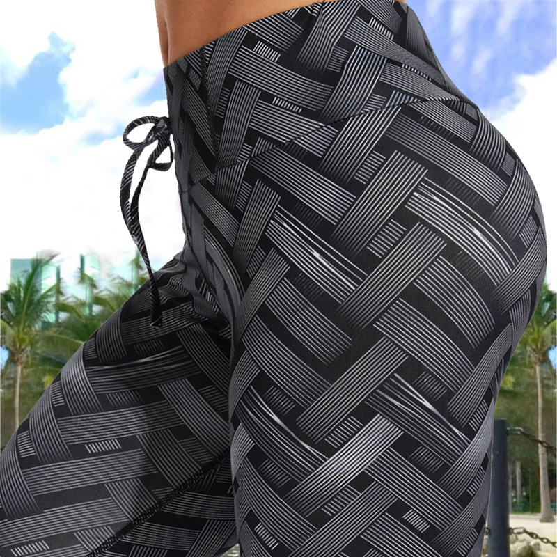 Sexy High Waist Fitness Iron Weave Leggings Weaving Printed Tie Women Fitness Workout Scrunch Booty Trousers Slim Running Pants