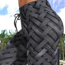 Sexy Hoge Taille Fitness Ijzeren Weave Leggings Weven Gedrukt Tie Vrouwen Fitness Workout Scrunch Booty Broek Slanke Running Broek
