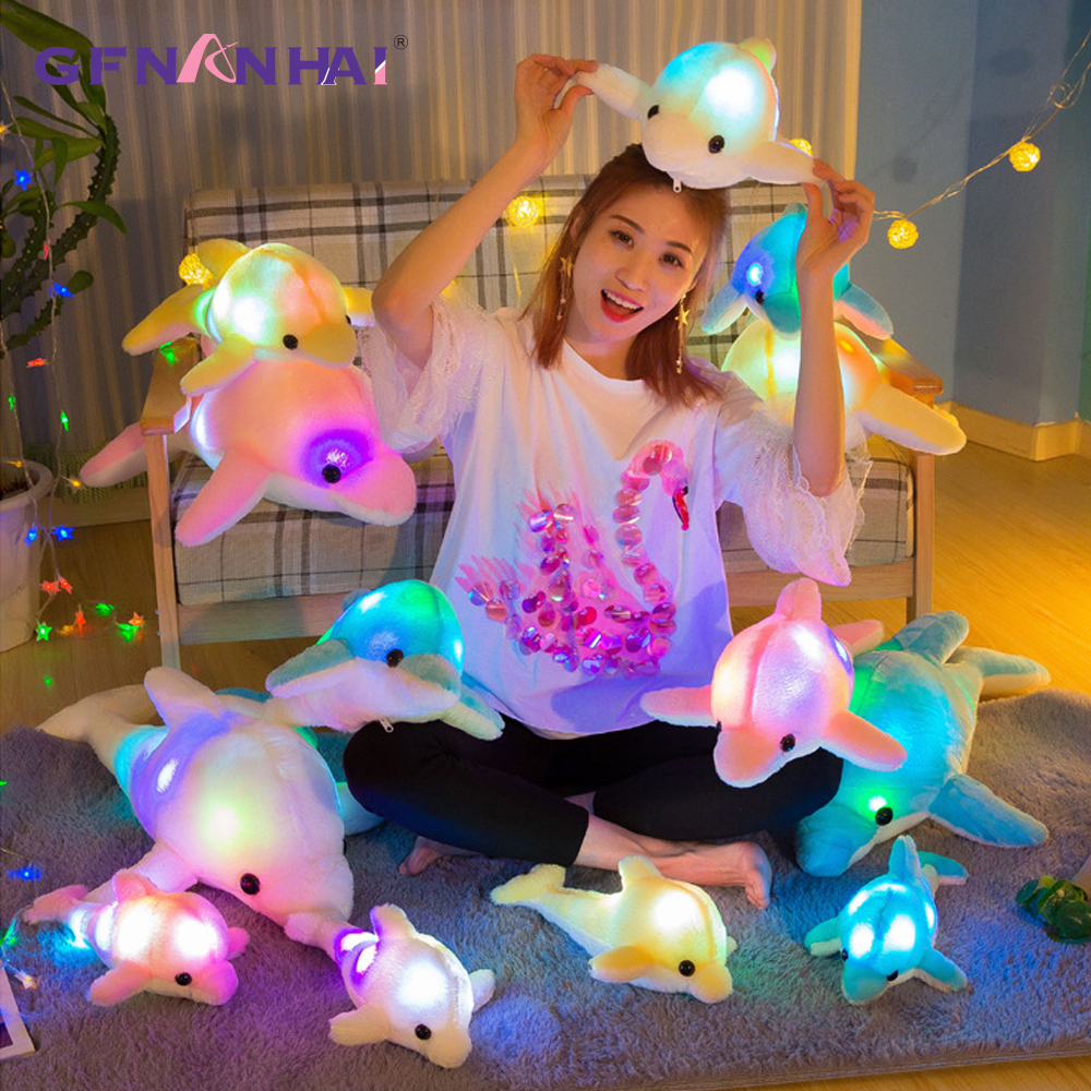 1pc 32cm Colorful Glowing Dolphin Plush Toy Kawaii Luminous Plush Dolls Stuffed Doll with Led Light Cute Gift for Kids Girls