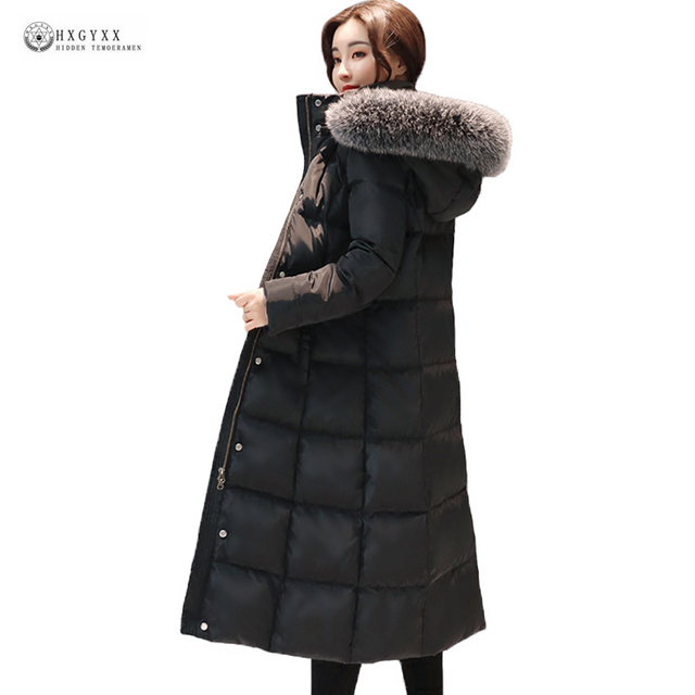 2019 New Arrival Women Winter Coat Fur Collar White Duck Down Jackets Solid Hooded Long Outerwear Female Warm Down Coat Ok950
