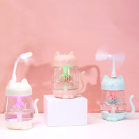 350ML Cat Air Humidifier With Color LED Light Ultrasonic 3 In 1 Adorable Cat Eat Fish Humidificador USB Aroma Diffuser Fogger