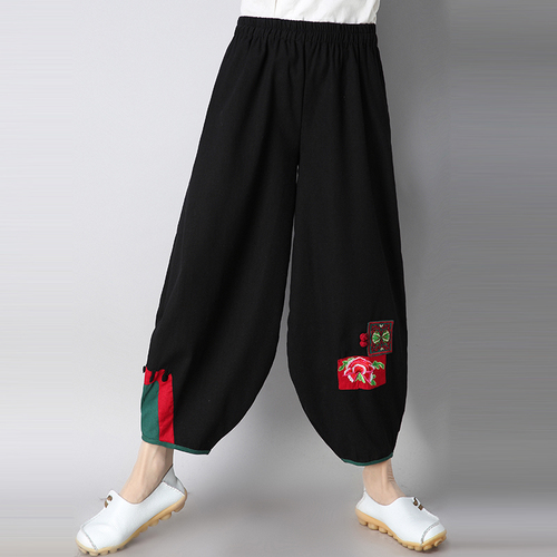 Large Folk Style Female   Pants   Retro Cotton Wide Leg   Pant   Embroidery Pantalones Casual   Capris   Loose Patchwork Women's Trousers