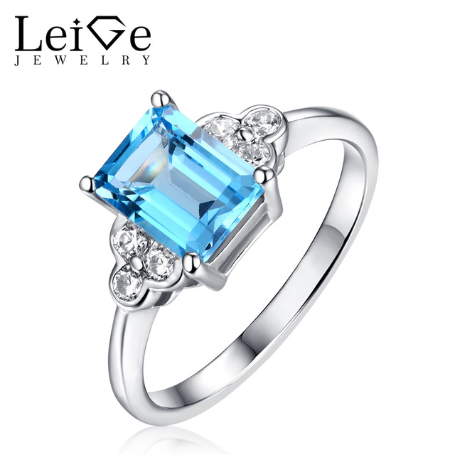 Leige Jewelry Silver Switzerland Blue Topaz Ring Emerald Cut Natural