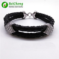 10PCS BC Real 316l Stainless Steel Clasp Accessories For Men Python Skin Leather Bracelets Real Python