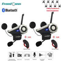 2pcs T-Rex 1.5KM 8-Way Radio Wireless Bluetooth Interphone Input Motorcycle Group Talk System+Remote Control