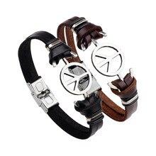 7ff51853d755 Joyería de estilo simple mundo símbolo de la paz unisex wristband pulsera  mano de cuero trenzado encanto pulsera brazalete