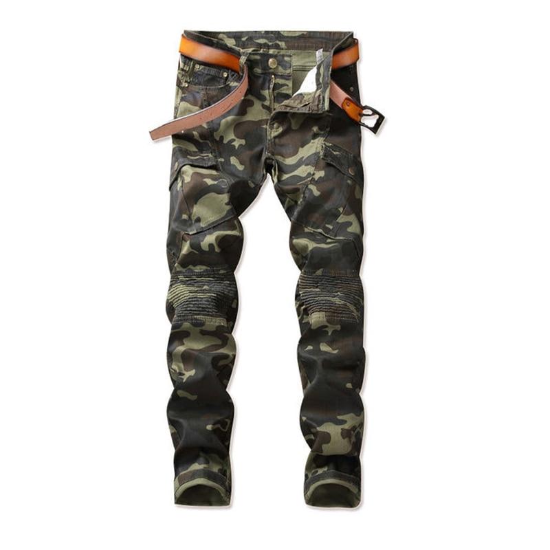 2018 New Camouflage Biker Jeans Men's Distressed Stretch Hip Hop Stree Wear Punk Denim Trousers