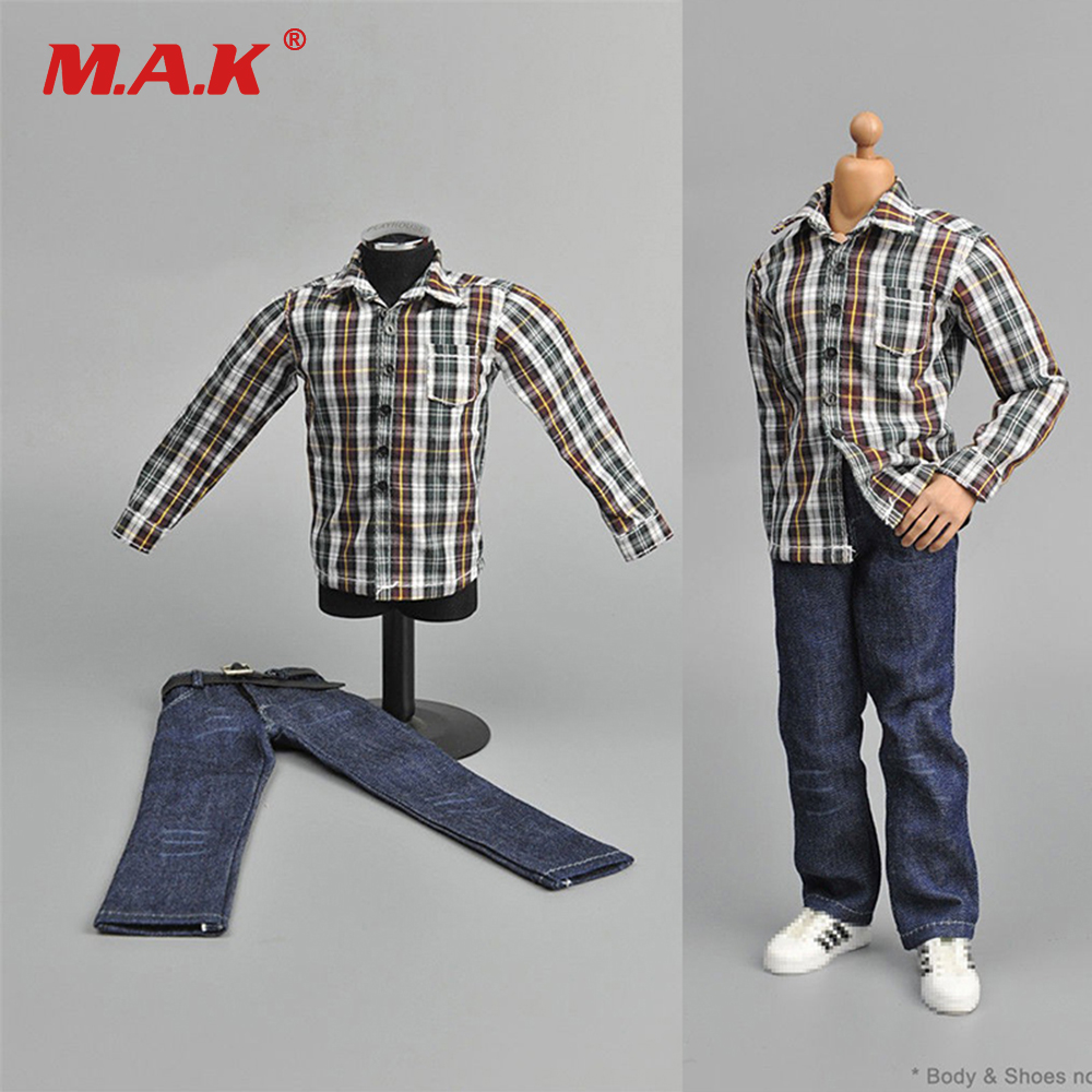 1/6 Scale Clothes Youth Male Suit Brown White Plaid Shirt & Jeans Set For 12 Man Action Figure Body Toys Accessories