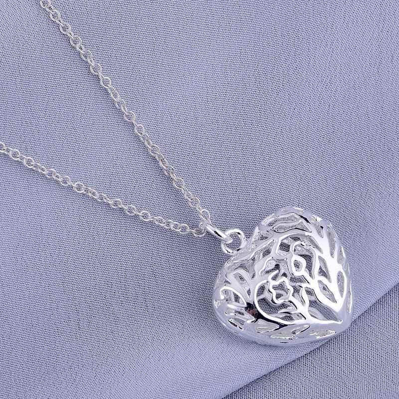 Cordiform Hollow Shiny mạ bạc vòng cổ trang sức 925 bạc Pandant đồ trang sức thời trang iwpnyoyn
