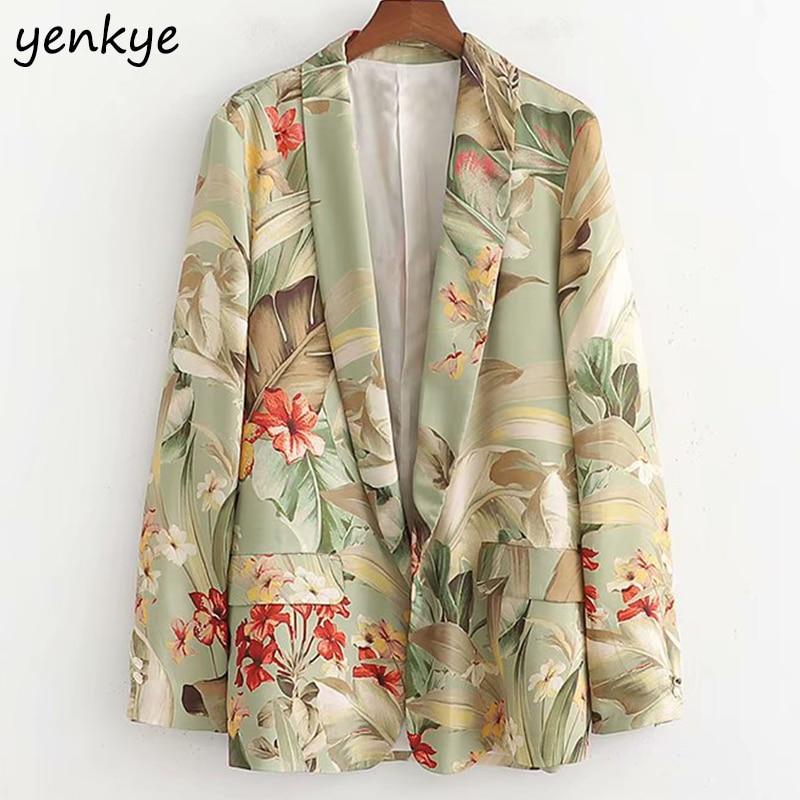 Fashion 2019 Floral Print  Blazer Women Suits Lapel Collar Long Sleeve Cardigan Office Ladies Blazer Mujer XDWM1946