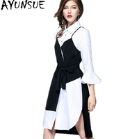 AYUNSUE Shirt Dress Female 2018 Korean Spring Midi Dress Black White Asymmetrical Dresses For Women Autumn