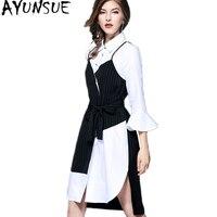 AYUNSUE Shirt Dress Female 2018 Korean Spring Midi Dress Black White Asymmetrical Dresses For Women Autumn