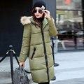 Inverno 2017 Mulheres Jaquetas de Algodão Amassado Casaco Fashion Casaco Longo Plus Size Gola de Pele Feminino Espessamento Jaquetas Parka Venda Quente Y389