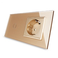 New EU standard Touch Switch, Golden Crystal Glass Panel, 110~250V 16A Wall Socket with Light Switch, OS 01/01EU 3