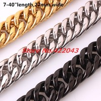 Granny Chic 22mm 7-40inch Choose Mens Boys Silver Gold Black CURB CUBAN Necklace/Bracelet Stainless Steel Chain Wholesale Price