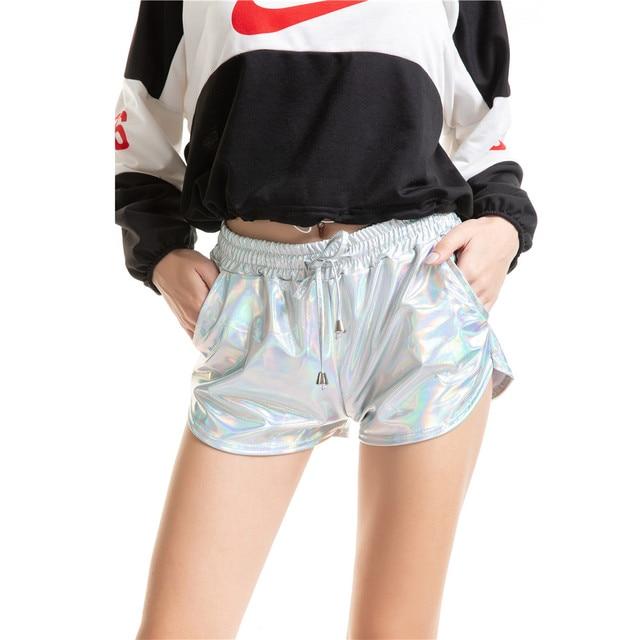 booty shorts women 2019 Pu light laser Middle-waisted Tightness Frenulum short feminino spodenki damskie spodenki biker shorts