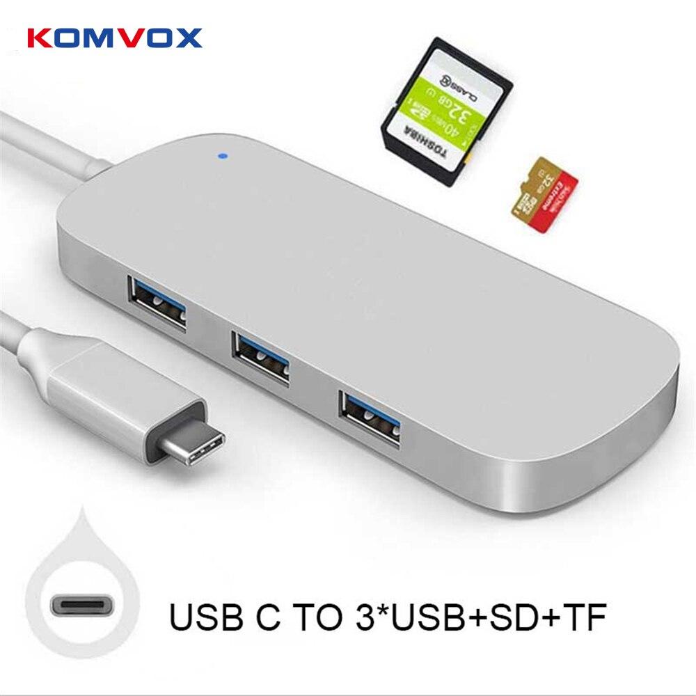 Thunderbolt 3 USB 3.1 Type C adaptateur HUB Dongle Dock Station Combo convertisseur avec 3 USB 3.0 SD TF lecteur de carte pour MacBook pro