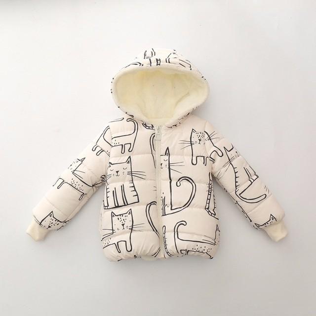 Retail nuevos Niños Unisex Abrigos Calientes 2017 Nuevos Niños de La Moda Abrigos de invierno de la Impresión Del Gato Niños Chicos Chicas manga larga Con Capucha chaqueta