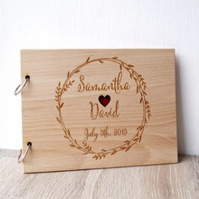 Свадебная Гостевая книга, персонализированные деревенский Гостевая книга с сердцем отверстие, деревянный невесты и жениха Свадебная Гостевая книга