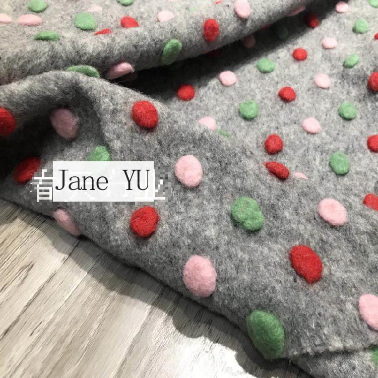 Tissu de laine tricoté en cachemire Jacquard tridimensionnel à Point de vague de couleur importé tissu Jacquard moelleux