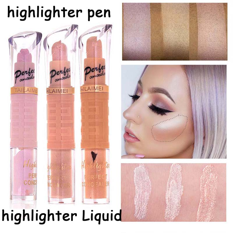 New Professional Double-end Pigment Eyes Glitter Face Shimmer Contour Pen Liquid Bronzer Highlighter Stick Maquillage