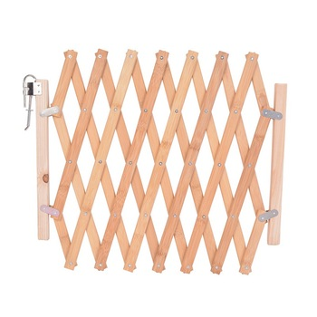 Stretchable and Wooden Dog Gate and Pet Fence for Pet Isolation and Baby Protection