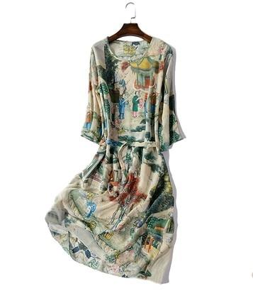 Robes en soie imprimées de style chinois dans le long col rond grande taille une robe taille en soie montre mince et large