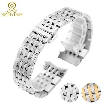 Correa de reloj de acero inoxidable de 19mm para tissot T41, relojes para hombre, lujosa correa de reloj sólida, pulsera de metal con arco en la boca