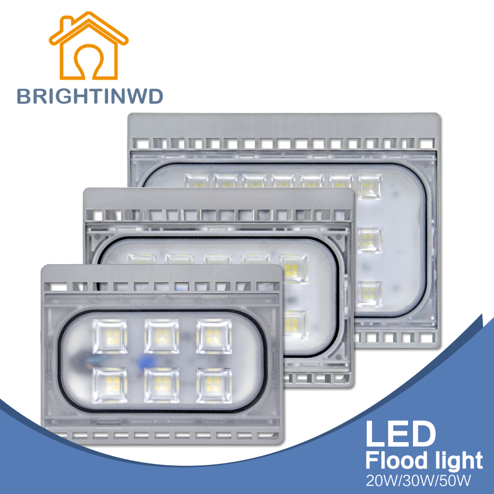 BRIGHTINWD Real Power High Lumen 20W 30W 50W 220V Outdoor LED Flood Light Ip66 Super Waterproof Reflector Spotlight Floodlight