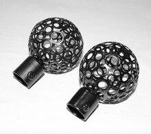цена на For 19MM Rod  Europe Style black hollow  ball shaped roman rod head Curtain Accessories