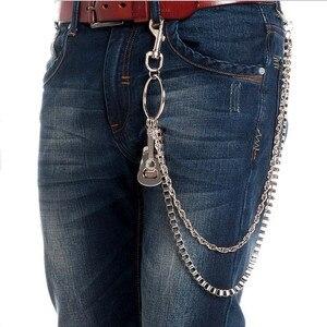 Мужской серебряный металлический кошелек, цепочки, брелоки на джинсы, панк кожа, гитара, пианино, пояс, цепь, модные 2 слоя, брюки, талия, Chai