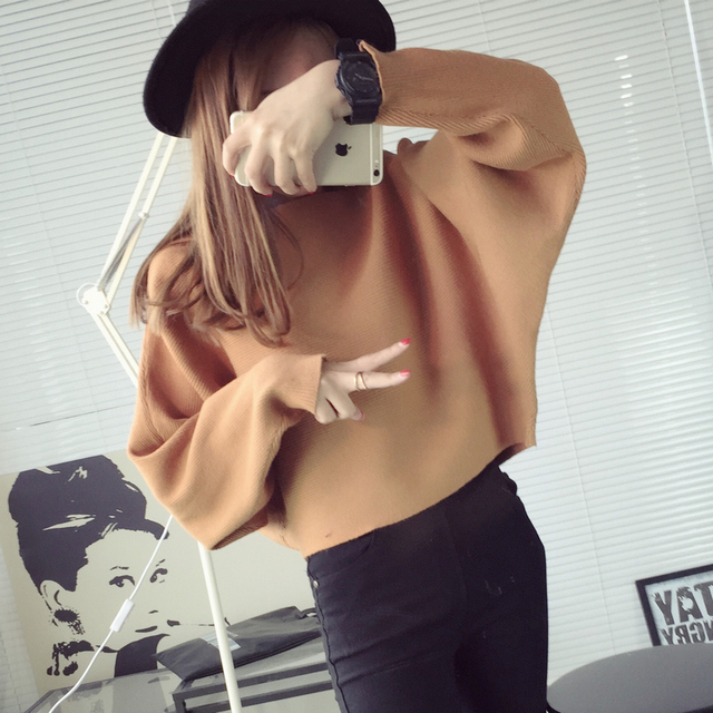 2017 Korean Slash Neck Batwing Sleeve Solid Plus Size Spring Autumn Sweater for Woman Cute Knitting Pullover Maglione Donna