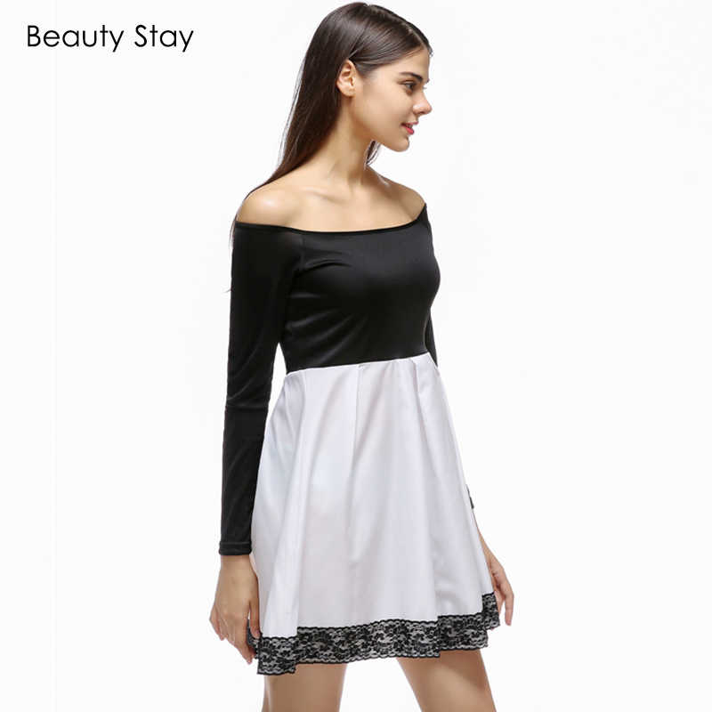 5a01ada832fc3 BeautyStay Black White Block Skater Dress Women Sexy Robe Slash Neck  Patchwork long Sleeve Elegant Prom Party Dating Dresses