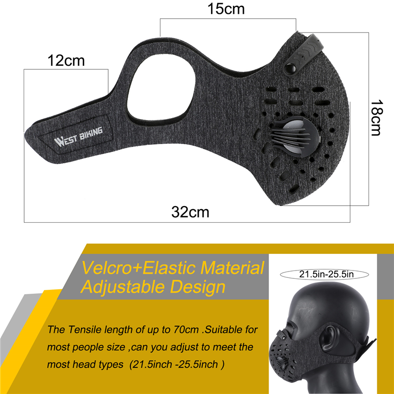 WEST BIKING Anti Dust Bicycle Face Mask With Filter Activated Carbon Men Women Running Cycling Anti Pollution Bike Face Mask in Cycling Face Mask from Sports Entertainment