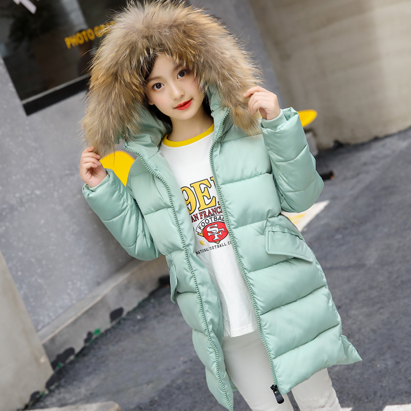 2018 Girls Winter Coat Children Jackets Cotton Parkas Kids big fur hooded Outerwear Coats Thickened Warm Jacket Baby Girls Coat 2018 fashion children s cotton parkas winter outerwear coats thickened warm jackets baby boy and girl faux fur coat