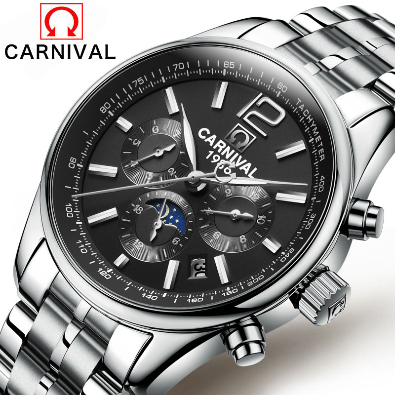 6 hand pointer Luminous Watch Date Display Famous Top Brand Men Automatic Mechanical Watches waterproof Luxury Wrist watch 2017 guanqin men auto mechanical watch water resistance luminous pointer date 24 hour display transparent back cover wristwatch