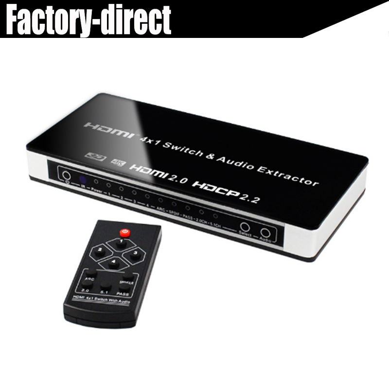 цена UHD HDMI 2.0 Switcher 4x1 HDMI Switcher 4 in 1 out Audio Extractor Toslink/SPDIF RCA 4Kx2K@60Hz HDMI2.0 HDCP2.2 for DVD в интернет-магазинах